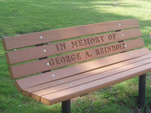 Memorial Park Bench With Permanent Post Frames Wood Kits Park Benches Handcars